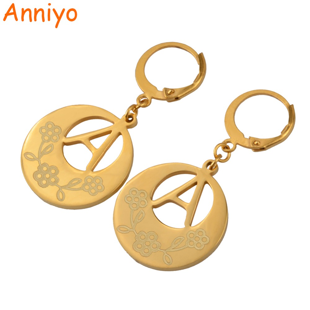 Anniyo (A-Z)Gold Color Initial Letter Earrings Women,English