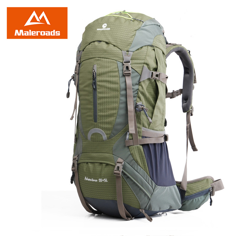 Maleroads 55+5L 60L Large Camping Hiking Backpack Travel Mochilas Waterproof Outdoor Gear Climbing Bags Pack For Men Women 2018