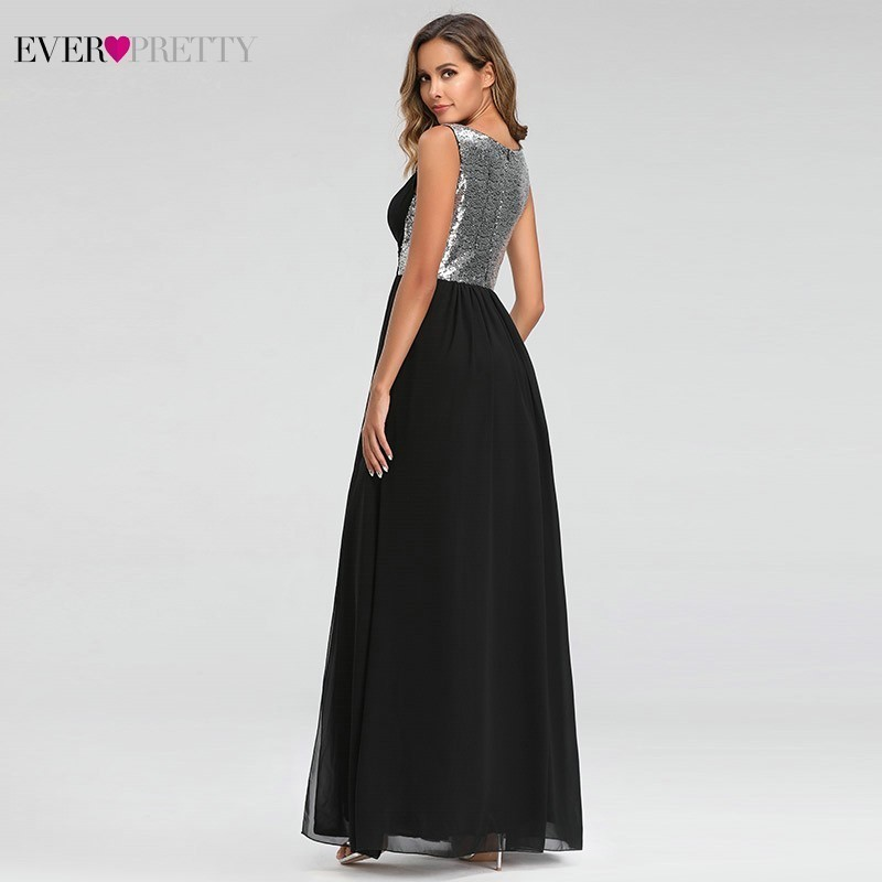 Image 3 - Sexy Prom Dresses Ever Pretty O Neck A Line Sleeveless Black Side Split Party Gowns Elegant Long Formal Dresses Gala Jurken 2019-in Prom Dresses from Weddings & Events