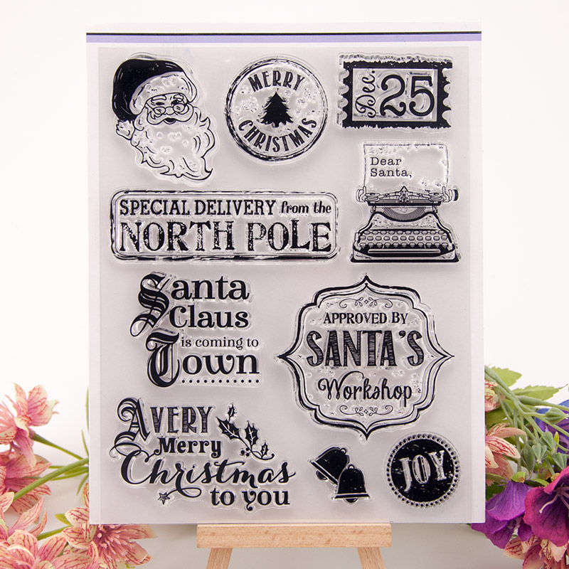 Craft Santa Clause Christmas Words Transparent Clear Silicone Stamp Seal DIY Scrapbooking Photo Album Decorative Clear Stamp
