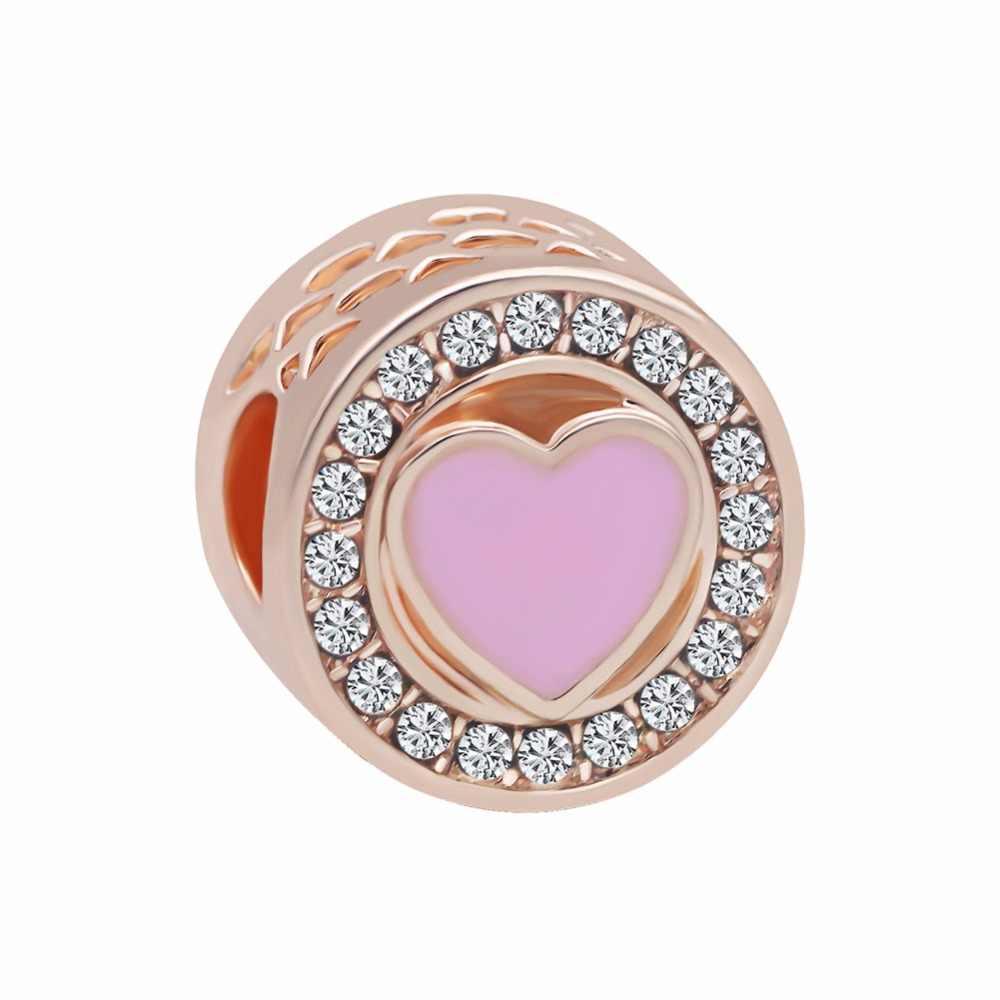 2018 nuevo envío gratis 1 pc europeo Rosa oro mamá hermana princesa mariposa corazón diy clip de cuenta Fit Pandora pulsera de encanto EL045