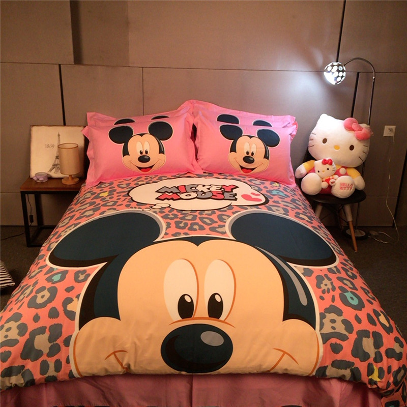 Disney memorized mickey cot children bedding set duvet cover bed sheet pillow cases king queen single size