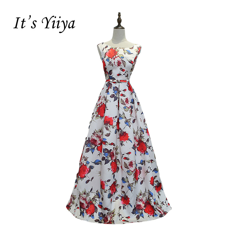 It's YiiYa White Bow Ball Gown Print Vintage Taffeta Flower O-neck Simple Party Formal Dress Floor Length Evening Dresses MYF074