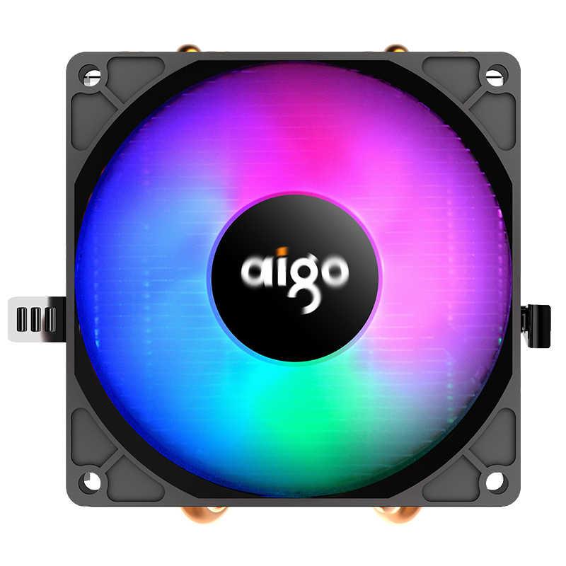 AIGO CPU مسند تبريد للاب توب مدمج به مكبر صوت 2 heatpipe CPU مروحة 3Pin PC تبريد 90 مللي متر مروحة المبرد المبرد ل LGA/775/1158/1366/AM4/AM3/AM2 +/AM2