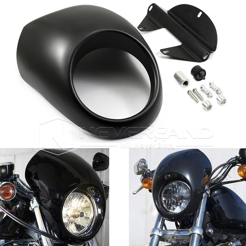 Matte Black Motorcycle Headlight Visor Cowl Fairing Cover For Harley Sportster Dyna FX/XL 1200/883 Freeshipping D10 mtsooning timing cover and 1 derby cover for harley davidson xlh 883 sportster 1986 2004 xl 883 sportster custom 1998 2008 883l