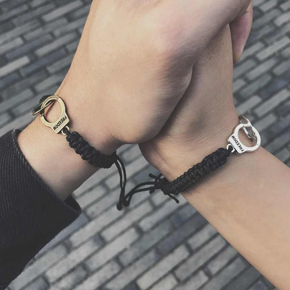 Hot Sale Vintage Adjustable Handcuffs Charm Bracelet for Women Accessories Friendship Girl Couple #292759