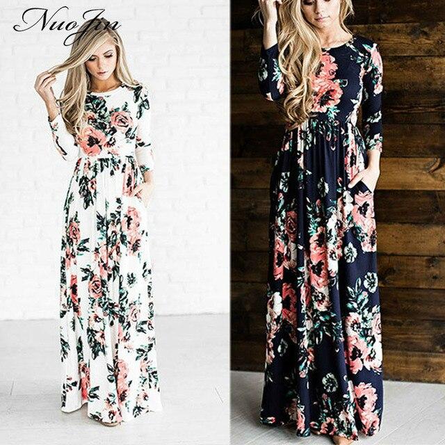 f7c7241bf4 NuoJin letnia sukienka 2017 Boho Floral Print długa sukienka kobiety  wieczór Party sukienki z długim rękawem