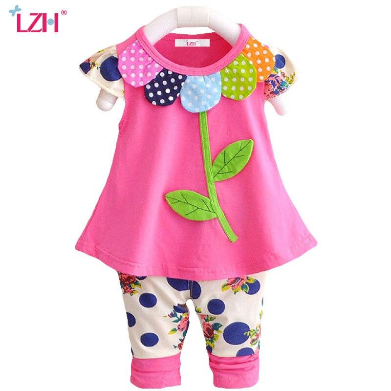 LZH/новорожденных одежда 2018 летняя одежда для маленьких девочек комплект лепестки футболка + брюки костюмы для младенцев костюм для девочек ... ...