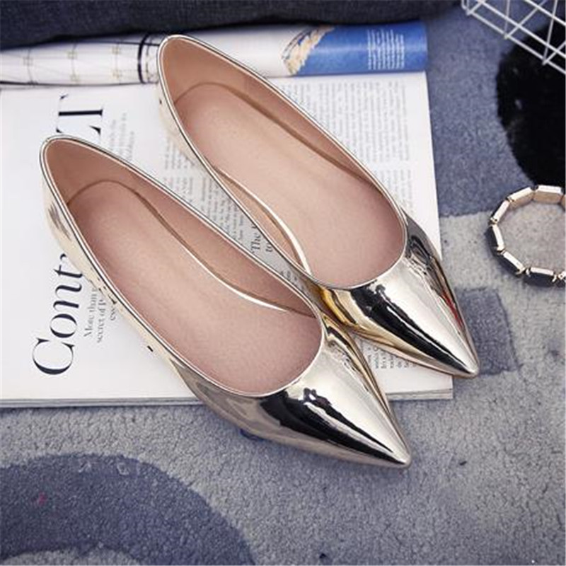 2016 Flat Heel Pointed Toe Flat Female Japanned Leather Silver Single Shoes Patent Leather Size 33 Women's Shoes Work Shoes 43