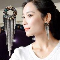 Grote Cirkel Stud Oorbellen Kunstmatige Crystal Pendientes Largos Mujer De Fiesta Bohemian Orecchini Donna Vintage Vrouw Lange Earing