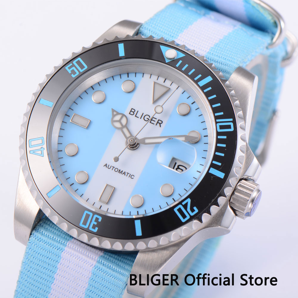 BLIGER Sapphire Crystal 40MM Blue White Dial Black Ceramic Bezel MIYOTA Automatic Movement Men's Wrist Watch Nylon Strap Watch
