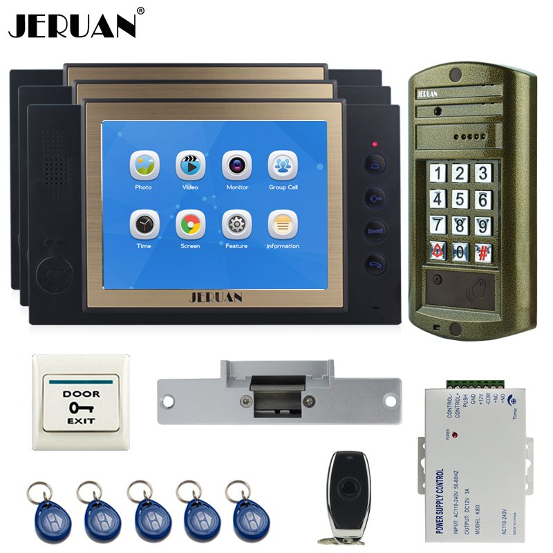 JERUAN 8 inch TFT LCD Color Video Door Phone Record Intercom System kit Metal Waterproof password keypad HD Mini Camera 1V3 jeruan 8 inch tft video door phone record intercom system new rfid waterproof touch key password keypad camera 8g sd card e lock