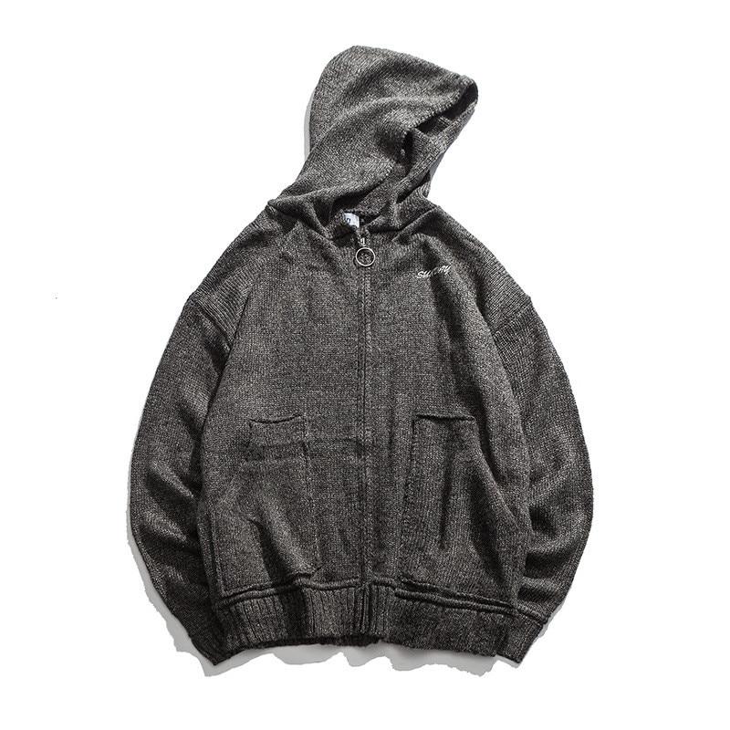 Harajuku tricoté brodé complet Zip à capuche Cardigan manteau pour hommes urbains garçons tricot Zipper à capuche Cardigan veste grande taille M-XL