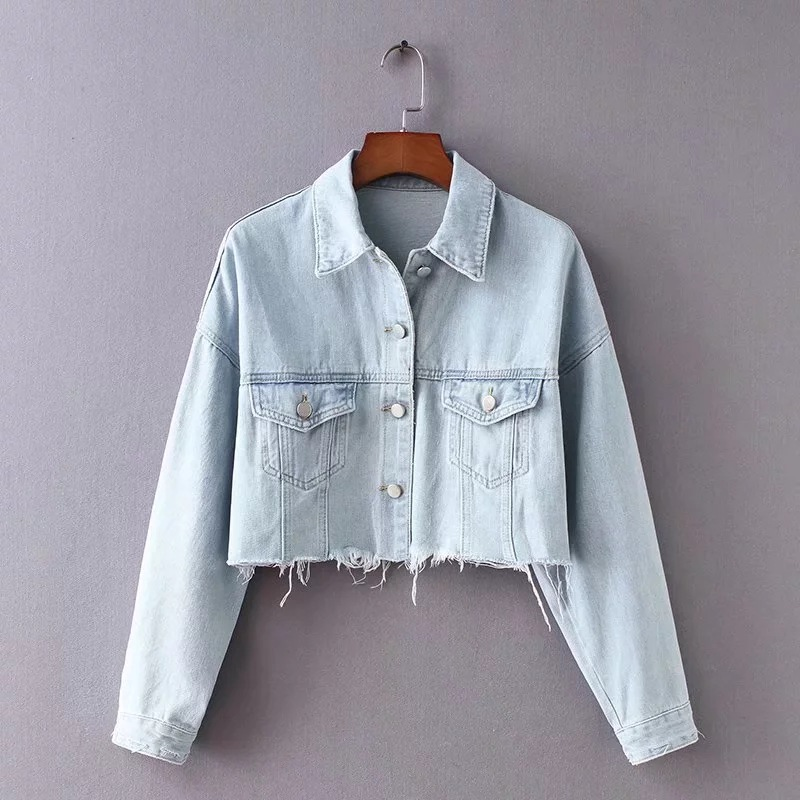 New Vintage Women Denim Jeans Crop Jacket Casual Ripped Tops Long Sleeves Jeans Ripper Female Coat