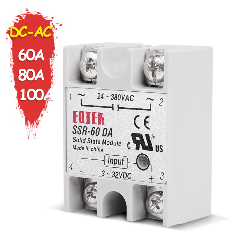 SINOTIMER SSR-60DA Solid State Relay SSR-80DA DC-AC Actually 3-32V DC TO 24-380V AC SSR 60A 80A 100A Relay without Cover brand new 3 32v 25a 24v 380v solid state relay module ssr 25 da dc to ac