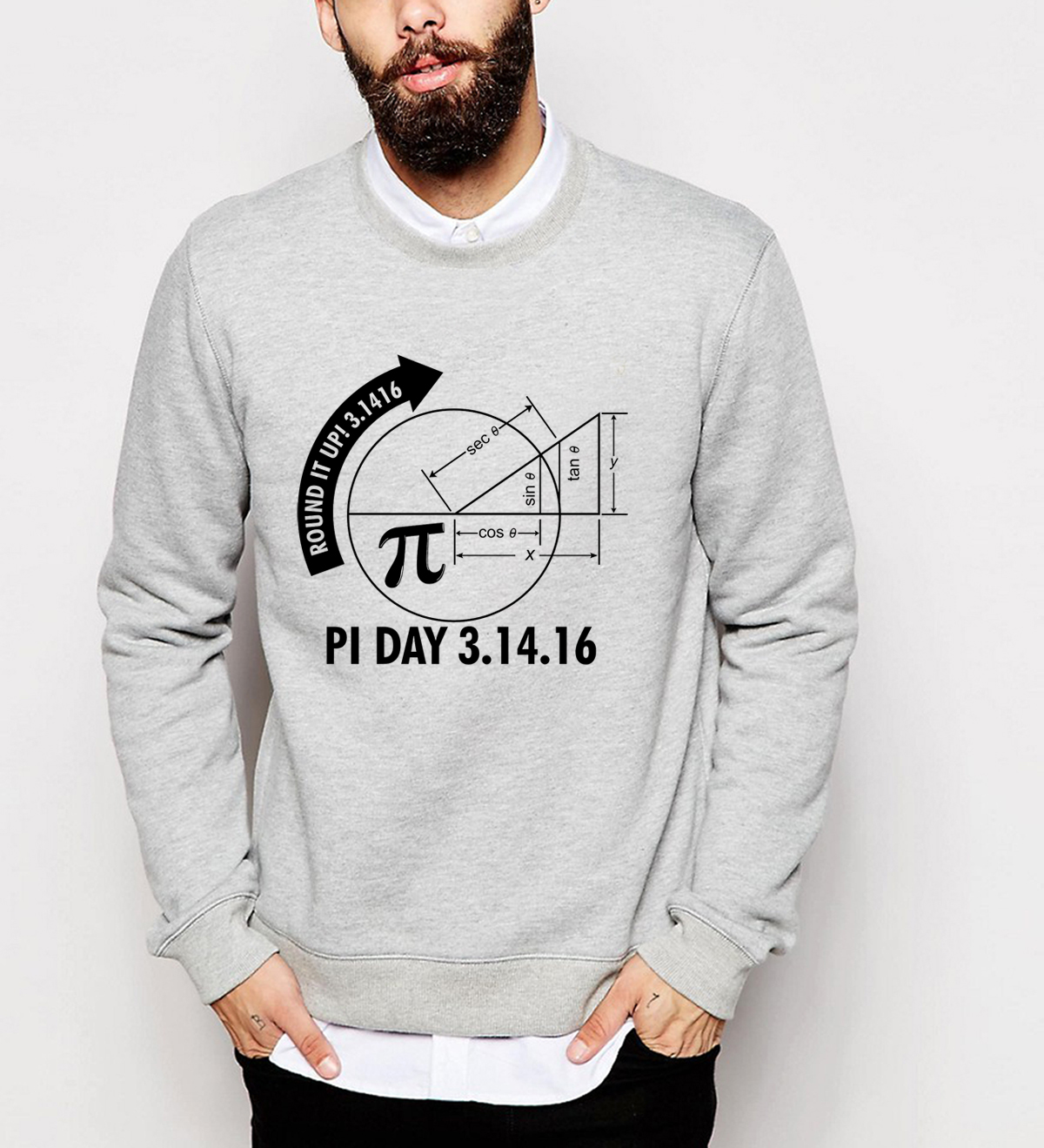 Male 2018 autumn winter casual sweatshirts men fleece high quality Math Graph and Pi print hoodies hip hop streetwear tracksuits