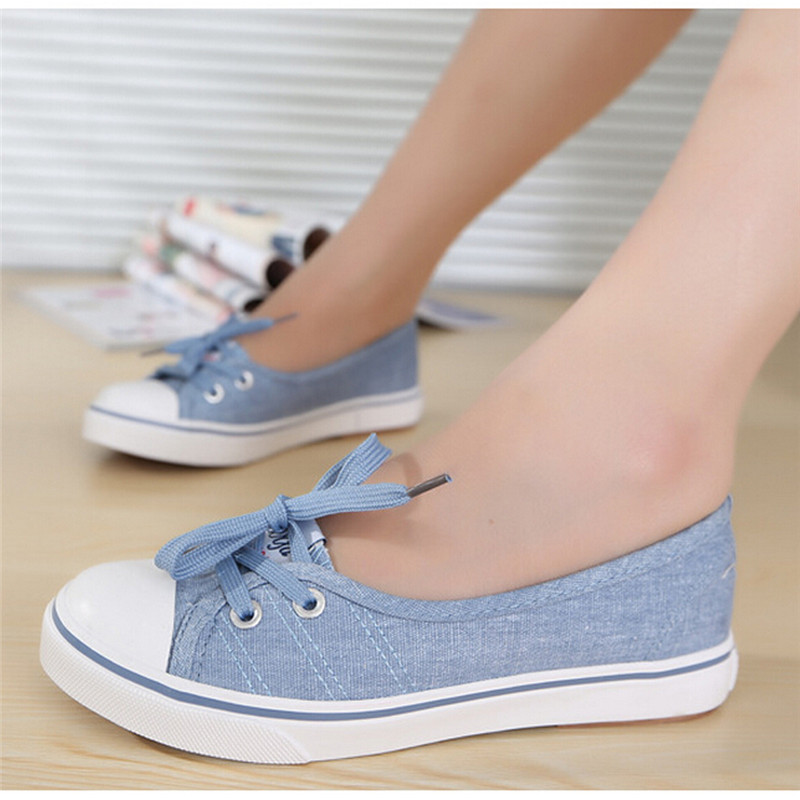2017 Summer Shallow Mouth Woman Casual Shoes Slip On Canvas Women Shoes Female Flat Lace-Up Shoe Length 24-25.5cm OR866070 summer women shoes casual cutouts lace canvas shoes hollow floral breathable platform flat shoe sapato feminino lace sandals