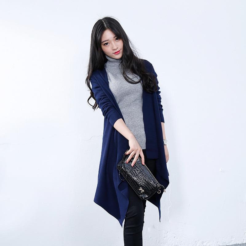 Autumn/Winter Cloak Style Long Knit Sweater Coat Women Large Size Knit Cardigan Open Stitch Fashion Solid Color Cardigan TT3036