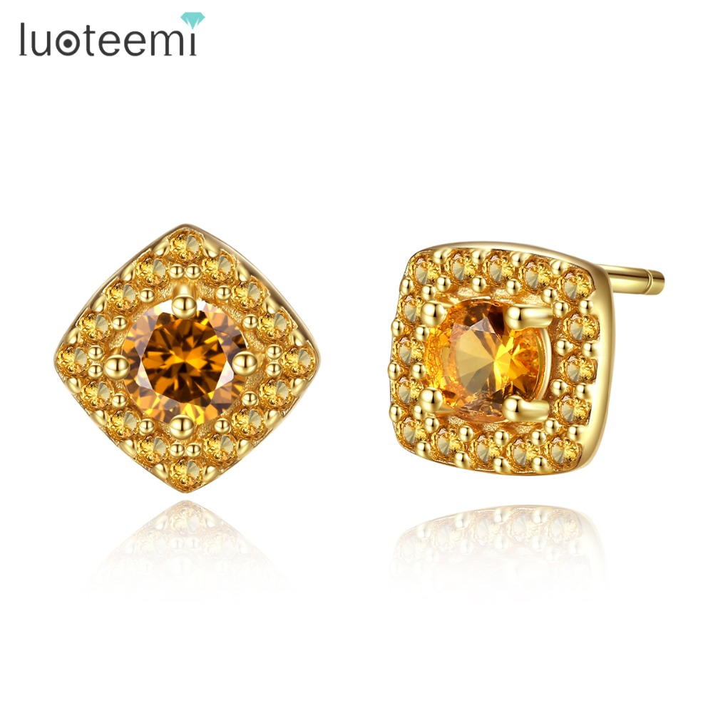 LUOTEEMI Brand Shining Square Design Genuine 925 Sterling Silver Stud Earrings For Women Fascinating Yellow Gold Color Jewellery
