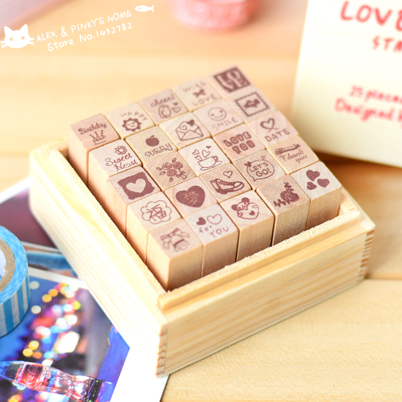 DIY Diary Craft Stamp Decorative Scrapbooking Wood Stamp 25pcs/set Love / Happy Life Two Styles Wooden Rubber Stamp tinta sellos handmade vintage towel 7 4cm tinta sellos craft wooden rubber stamps for scrapbooking carimbo timbri stempel wood silicone stamp
