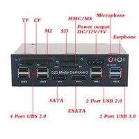 5.25 inch Multi function Media Dashboard Card Reader USB 2.0 USB 3.0 20 pin e SATA SATA Front Panel for Optical Drives Bay
