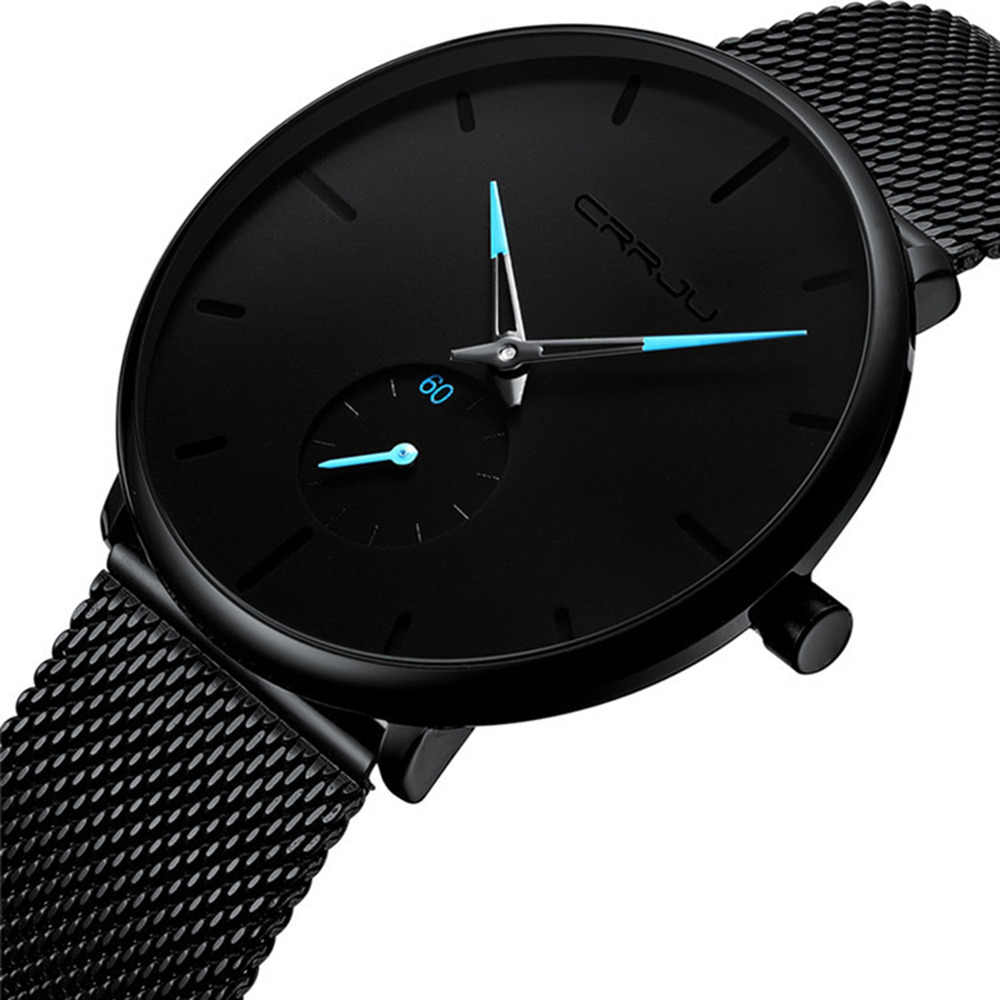 Fashion Brand Watch Men Waterproof Slim Mesh Stainless Steel Wristwatches Ultra Thin Clock Men Quartz Watch erkek kol saati