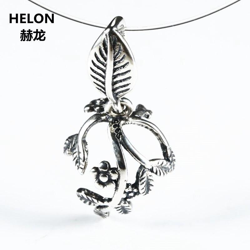 5pcs/lot Art Nouveau Leaf Sterling Silver 925 Pendant Clasp Semi Mount Clip Charm Fine Jewelry Setting for Gemstone