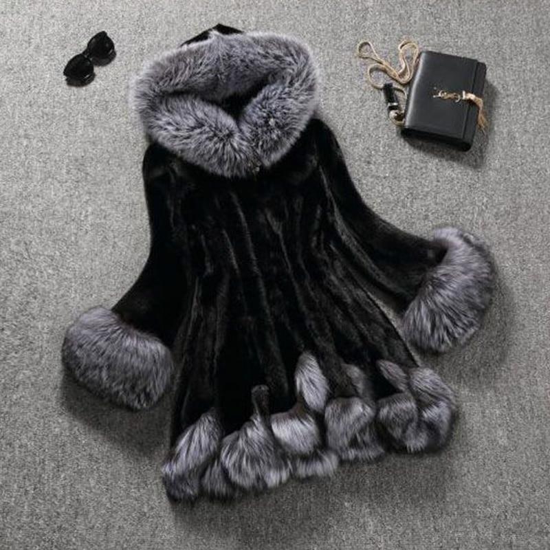 HONGZUO Silný teplý Mink Fur Coat 2017 Zimní Ženy Stříbrná - Dámské oblečení