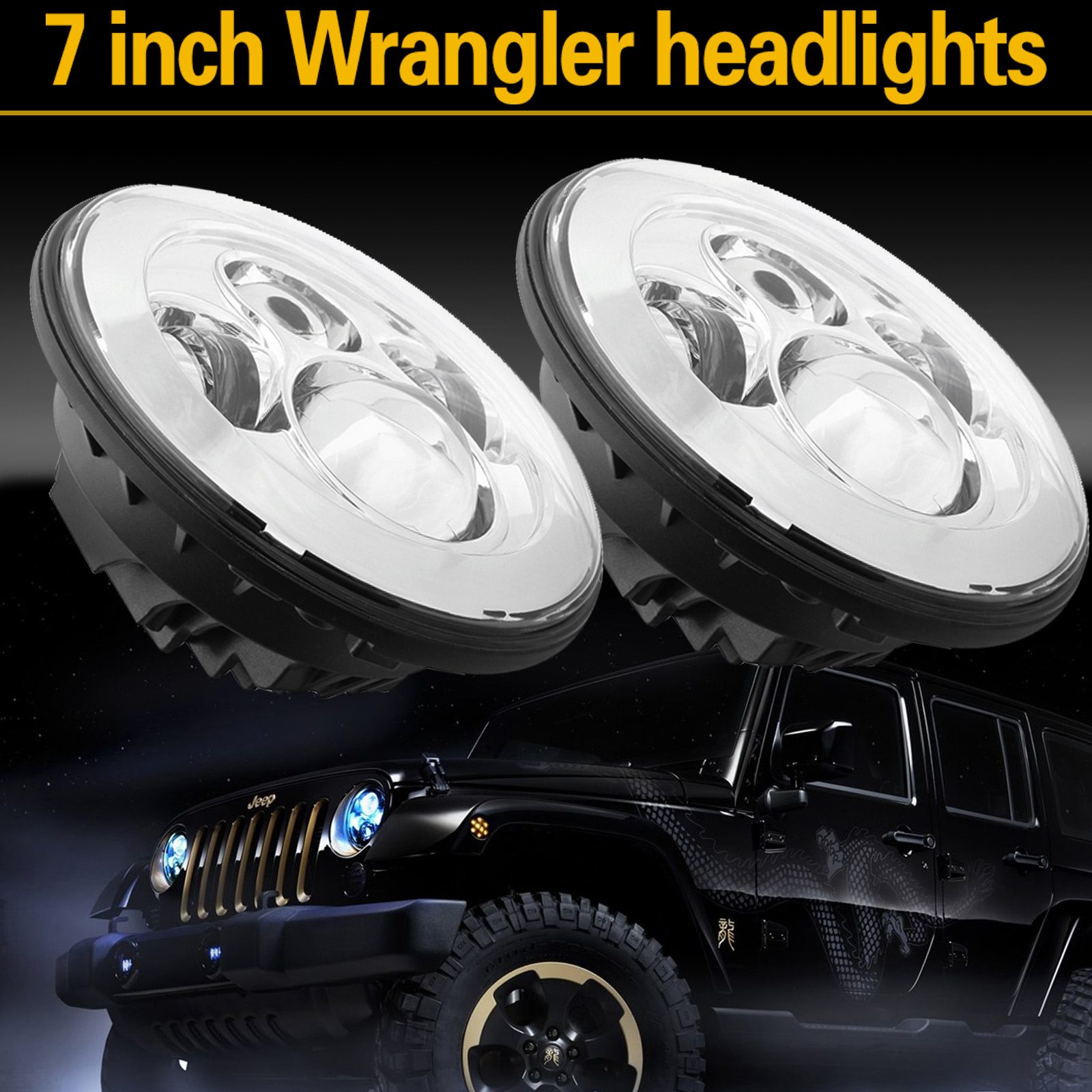 1Pc 7inch Round Chrome H4 LED Headlight Projector Light For Car Jeep Wrangler JK  CSL2017 windshield pillar mount grab handles for jeep wrangler jk and jku unlimited solid mount grab textured steel bar front fits jeep