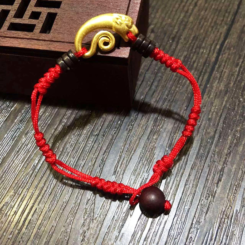 все цены на New Arrival Solid 24K Yellow Gold Dragon Bracelet Handmade Weave Red String Bracelet