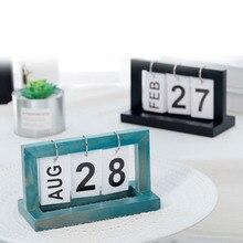 1 Pcs Wooden Flip Calendar Perpetual Desktop Office DIY Yearly Planner Calendar WXV Sale diy wooden calendar friends