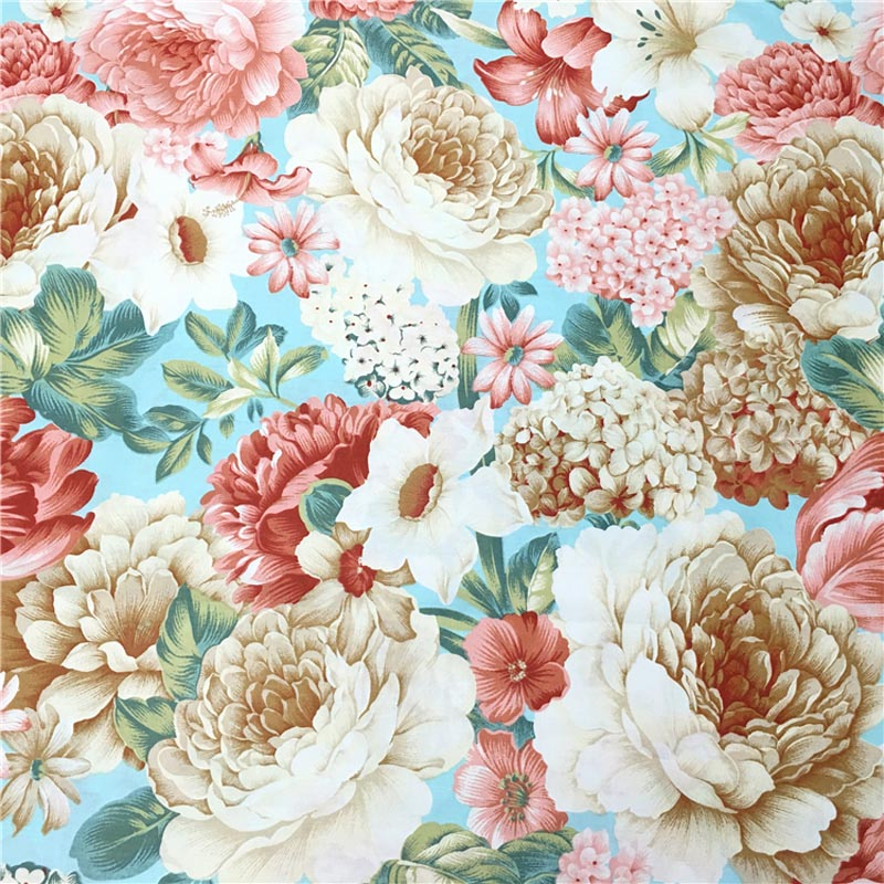 Craft Blue Pink Rose Bunch 100/% Cotton Fabric Ideal for Clothing Quilting