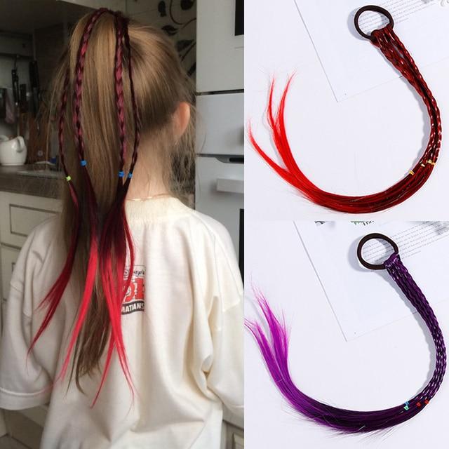 New Girls Colorido Perucas Rabo de Cavalo Cabelo Ornamento Headbands Elásticos Beleza Faixas de Cabelo Headwear Crianças Acessórios Para o Cabelo Banda Cabeça