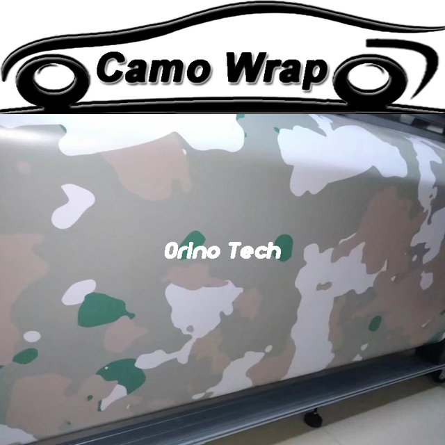 Jumbo white green camouflage foil vinyl wrap car styling wrapping motorcycle truck car camouflage film sticker