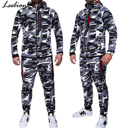 IceLion 2019 Spring Camouflage Hoodies Men Zipper Cardigan Hooded Sweatshirts Fashion Print Sportswear Men's Slim Fit Tracksuit 1