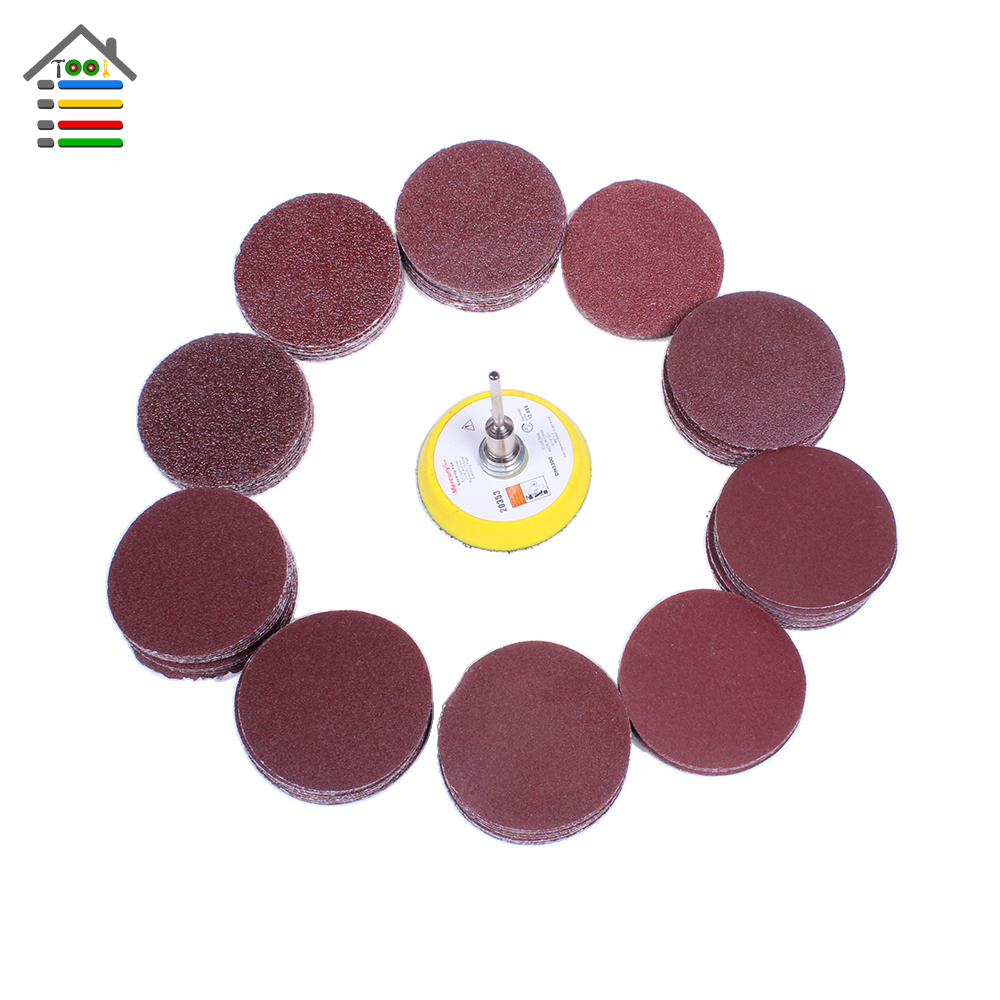 100PCS 50mm 40-400 Grit Sander Sanding Disc Polishing Paper with Pad plate for Dremel Electric Grinder Abrasive Rotary Tools 10pcs dremel accessories sandpaper sanding flap polishing wheels sanding disc set shutter polishing wheel for rotary power tools