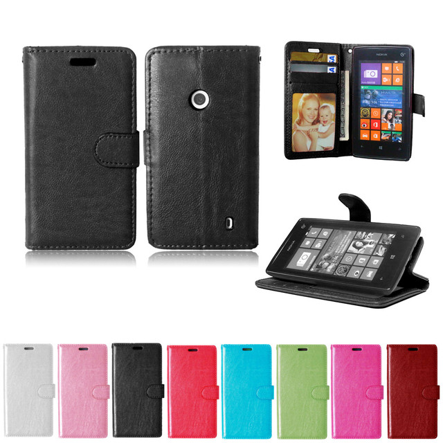 outlet store bb1ec 84f59 For Microsoft Nokia Lumia 520 Case Solid color Leather Cases Fashion Card  Slot Stand Wallet Photo Frame Flip Phone Cover-in Flip Cases from  Cellphones ...