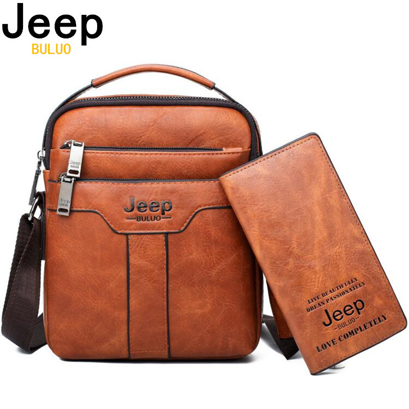 JEEP BULUO Brand Men Messenger Bags 2pcs set Crossbody Business Casual Handbag Male split Leather Shoulder Bag Large Capacity