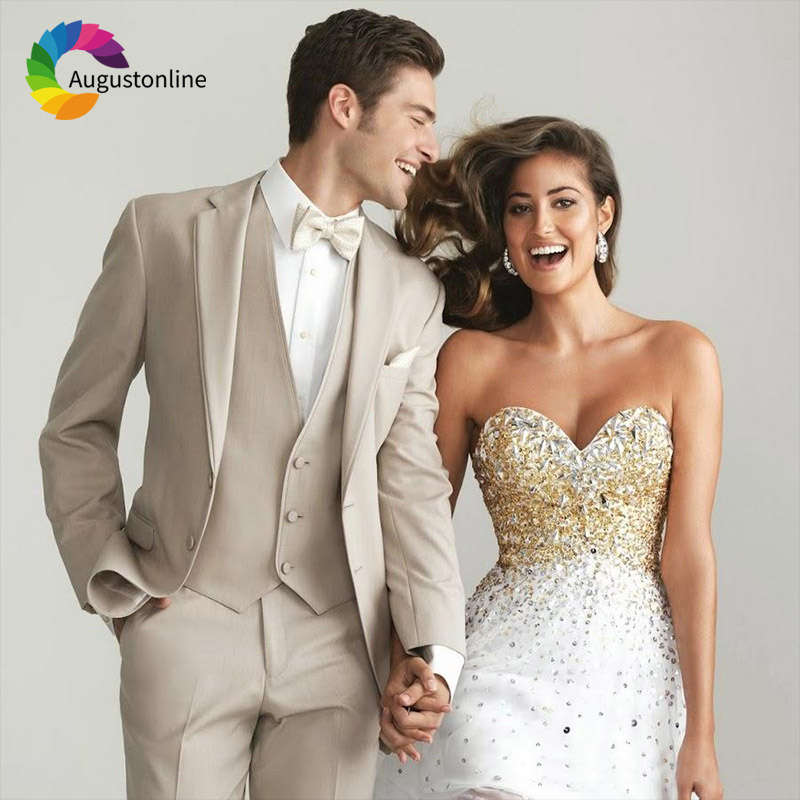 2019 Tuxedos Beige Men Suits Wedding Suit For Man Custom Slim Fit Groom Prom Tailor Made Costumes Best Man Traje Hombre 3 Pieces