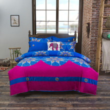 Estilo bohemio super king juegos de Cama sábanas rosered 3 o 4 Unids ropa de cama Plana/sábana duvet cover set funda de almohada textiles para el hogar