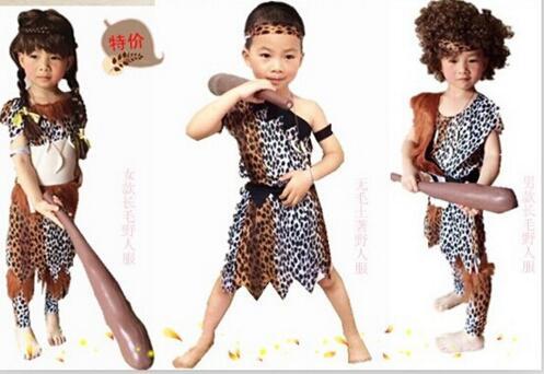 Halloween Adult Men Sexy Primitive Tribe Savage Leopard Print Cosplay Costume Kids Boy Girls Aboriginal Wildman Costume