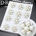 Branco pérola flor broche de casamento declaração para meninas