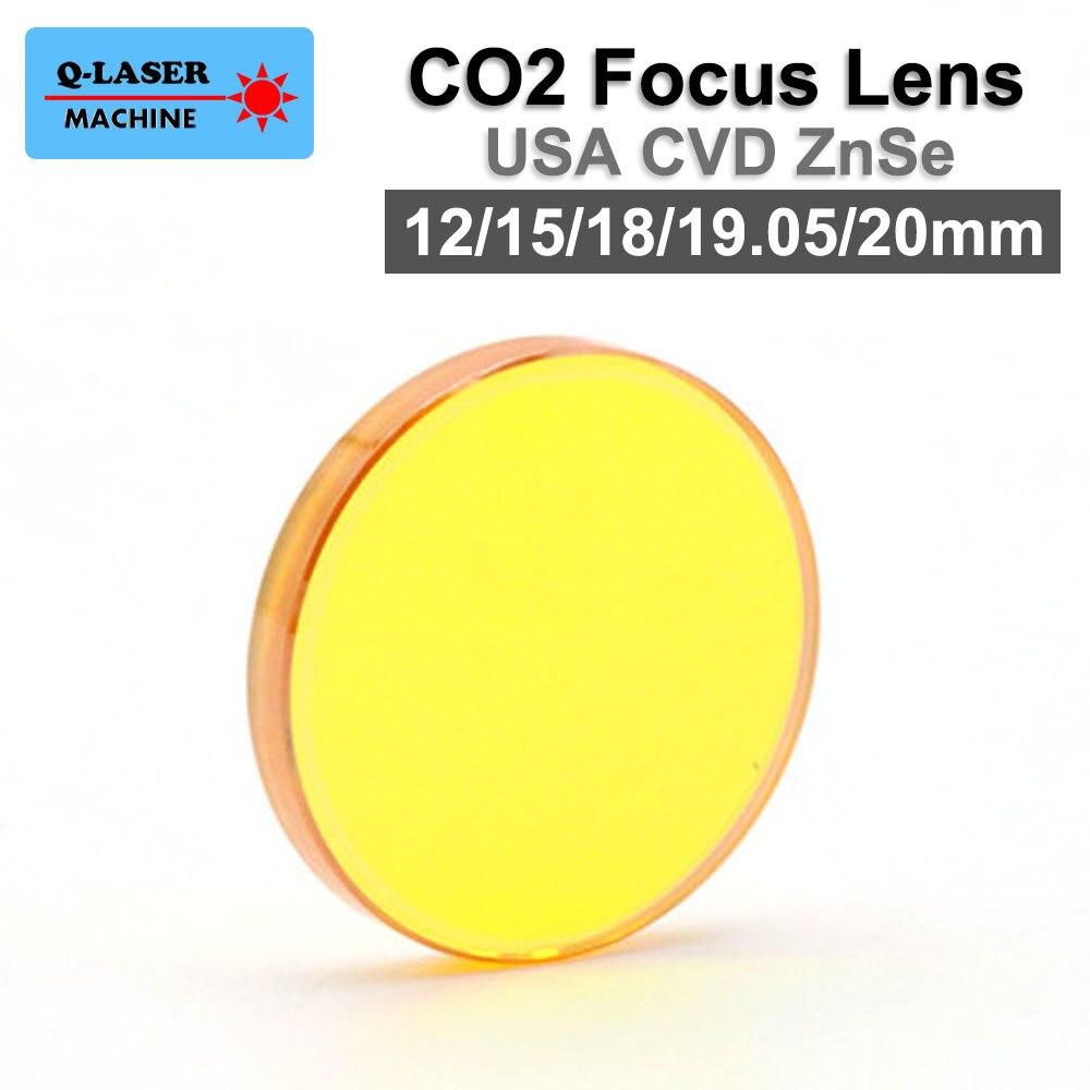 USA ZnSe Co2 Laser Focus Lens 12 15 18 19.05 20mm Dia. FL 50.8 63.5 101.6mm Focus Length For Laser Engraving Cutting Machine