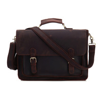 YISHEN Crazy Horse Genuine Leather Men Laptop Bags Vintage Business Male Briefcase Cow Leather Handmade Men