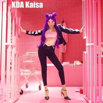 Anime! Hot Game LOL KDA Kaisa Illustration Magazine Style Sexy Uniform Cosplay Costume Daily Suit Free Shipping