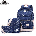 2017 New Canvas Young Women Backpack 3-piece Set Students School Bag Female Girl Travel Backpack Stars Cute Book Shoulder Bags