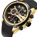 MEGIR Лидирующий бренд  часы  армейские спортивные кварцевые часы  мужские черные  силиконовый ремешок  военный морской хронограф  наручные ча...