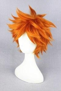 Image 2 - Yüksek kaliteli Anime Haikyuu!! Hinata Syouyou Cosplay peruk kısa turuncu kıvırcık isıya dayanıklı sentetik saç peruk + peruk kap