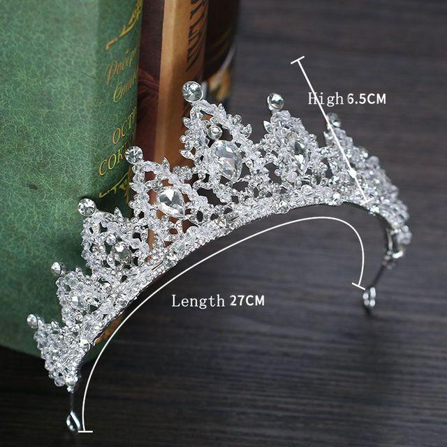 Baroque Luxury Rhinestone Bridal Crown Tiaras Handmade Silver Crystal Diadem Tiaras For Bride Headbands Wedding Hair Accessories 5