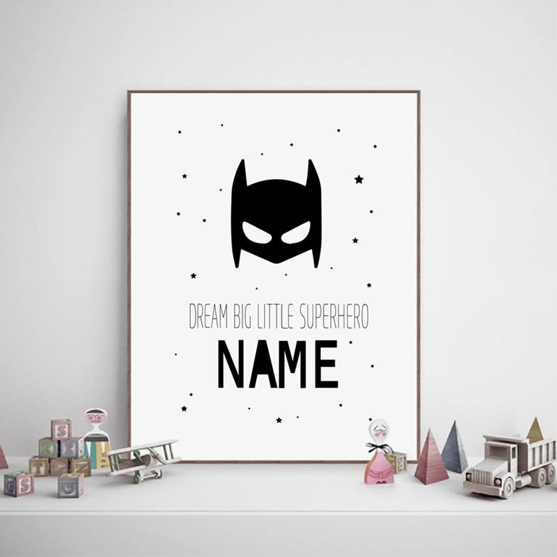 Personalised Superhero Name Boys Canvas Art Print and Poster , Custom Batman Name Canvas Painting Baby Boys Room Wall Decor